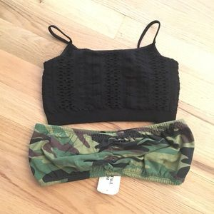 Bundle of 2 (camo/black) bralettes size small